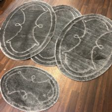 ROMANY WASHABLES GYPSY MATS 4PC SETS NON SLIP WING OVAL DESIGN CHARCOAL GREY RUG